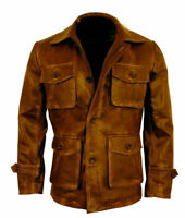 Mens 3/4th Distressed Brown Coat Leather Jacket Bomber Cafe Racer Real Sheepskin
