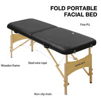Adjustable Height Fold Portable Massage Table Facial SPA Bed Tattoo Black