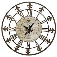 Metal Wall Clock Iron Frame Art Vintage Decor Home Round Rustic Fleur De Lis