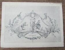 ANCIENNE GRAVURE XIXème GUERINET LA COQUETTE WATTEAU / BOUCHER