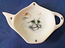 Cat Long Hair White New Handmade Ceramic Porcelain Tea Bag Holder Spoon Rest Pet