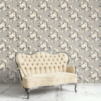 Manor House Traditional Victorian Rose Gray Grand Floral Designer Wallpaper