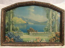 antique 1920's print BLUE LAKE by R Atkinson Fox in art deco frame