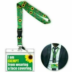 Face Covering Ma,sk Exemption PVC Cards With Free Safe Sunflower Lanyard Hidden