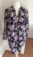H&M Kleid 38, schwarz-geblümt, Tunika, langarm, knielang, Blogger, NEU!!!
