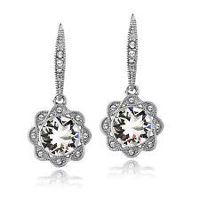 Clear Swarovski Elements Halo Flower Leverback Earrings in Brass