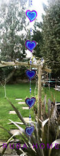 Stained Glass String of 5 Hearts Sun Catcher Hanging Window Decoration Love Blue