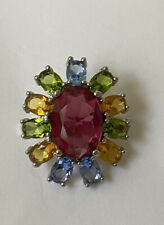 925  Silver Rhodolite,  Green Peridot ,  Yellow Citrine  And Topaz Ring Size 7