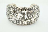 "Carolyn Pollack Relios Sterling Silver 925 Rope & Swirl Wide Cuff Bracelet 7.5"""
