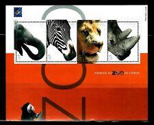 SELLOS FAUNA PORTUGAL 2001 HB 177 ANIMALES DEL ZOO DE LISBOA 4v.