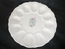 VTG Mid - Century Steubenville Fairlane Deviled Egg Dish Platter.Flower Center