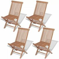 vidaXL 4x Solid Teak Wood Outdoor Folding Chairs Brown Seat Garden Furniture