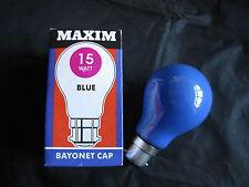 5 x Maxim Blu 15W B22 BC Colorate Lampadina Per Lampada 240V venditore UK