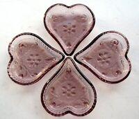 Tiara Indiana Glass 4 Plum Purple Sandwich Heart Candy Nut Ashtray Mini Trays