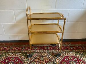 Vintage Three Tier Gold Coloured Metal Tea Trolley Drinks Gin Retro Wheeled Tray