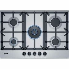 Neff T27DS59N0 75cm Stainless Steel Wide Gas Hob With Cast Iron Pan Supports