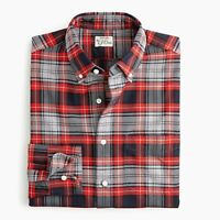 New J Crew American Cotton Oxford Slim Shirt Button Down Plaid Red Gray NWT