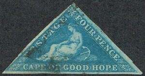 1855 Cape of Good Hope SG6a 4d Blue 3m Fine Used Cat. £90.00
