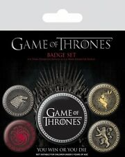 GAME OF THRONES THE FOUR GREAT HOUSES 5 PACK OF BADGES NEW OFFICIAL MERCHANDISE