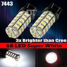 2X 7443 7440 6000K Xenon White Backup Reverse 68-LED SMD Lights Bulbs