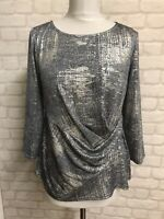 Roman Grey & Silver Sparkly Top Size 14 Partys special Occasions Christmas