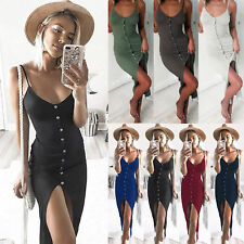 UK Womens Summer Buttons Beach Wear Bodycon Cover Up Front Split Midi Sun Dress