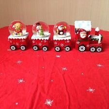 Festive Christmas Train Pulling 3 Snow Globes
