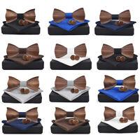 3D Holz Krawatte Quadrat ManschettenknöPfe Mode HöLzerne Fliege Hochzeit Ha R5W2