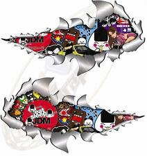 Pair Metal RipOpen Stickerbomb No1 Jdm Race Car Van Motorbike 150mm each sticker