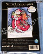 Dimensions GOLD Petite MERRY CHRISTMAS SANTA Counted Cross Stitch Picture Kit