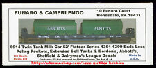 LMH Funaro F&C 6914 BORDEN'S ABBOTT'S SHEFFIELD Bell Twin Milk Tanks 52' Flatcar