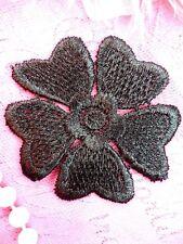 "Embroidered Applique Flower Venice Lace Black Floral 2"" (GB439-bk)"