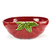 Pottery Barn GARDEN CRUDITE Large Oval Stoneware Red Tomato Salad  Serving Bowl