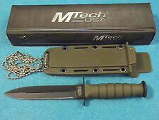 "MTech MT632DGN Mini Combat Dagger Neck Knife OD Green fixed blade 6"" overall NEW"