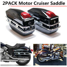 Motorcycle Cruiser Hard Trunk Saddle Bags Trunk Luggage Mounted Black US STOCK