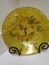"""Gilded Glass Art Lilies Decorative Display 9""""  Bowl - Home Decor, Hand Painted"""