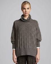 Eskandar BISON Heavy Weight Cashmere Shadow Square Cowl Neck Sweater O/S $2190