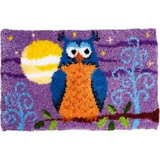 """Latch Hook Rug Kit""""Owl at Night on a Branch"""" 52x38cm"""