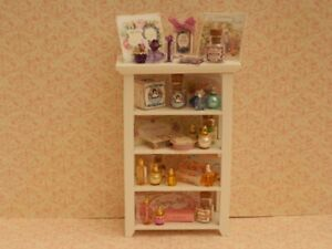 Dolls house: 1/12th Handmade wooden display unit with assorted toiletries -Fran