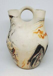 "Nemadji Wedding Vase - 6"" - Native American Southwestern Style - Beige Swirl"