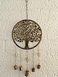 Golden Tree Of Life Metal Hanging Wall Art W Beads & Bells Sculpture Home Garden