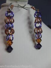 Copper/Aluminum Chainmaille Dangle Earrings Swarovski Elements Purple Velvet