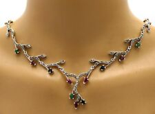 Collier Bracelet & Studs Emerald Sapphire Ruby Marcasite 925 Sterling Silver