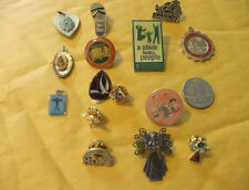 Vintage Religious Holy brooches & pins--lot of 15..#A