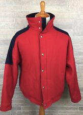Vintage Woolrich Coat Barn Coat Wool Red Sherpa Linned Metal Buttons USA Size L