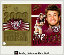 2009 NRL Classic Predictor + Top Tryscorer Card TT6 David Williams (Manly)