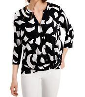 Alfani Womens Blouse Black Size Medium M Twist-Front Button-Front $59 126
