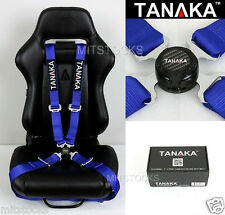 TANAKA UNIVERSAL BLUE 4 POINT CAMLOCK QUICK RELEASE RACING SEAT BELT HARNESS 2""