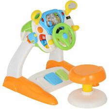 Qaba Simulated Cab Set With Stool Driving Game Steering Wheel 3 Years Kids ABS