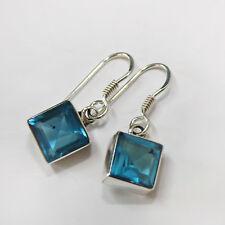 Blautopas Ohrringe Silber 925 Ohrhänger Blau Elegant Quadrat facettiert eckig ts